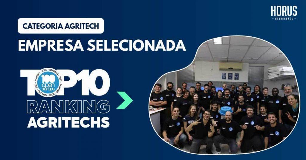 equipe horus comemora premio agritech no 100 open startups